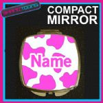 PINK COW PRINT WITH PERSONALISED NAME GIFT COMPACT LADIES METAL HANDBAG MIRROR
